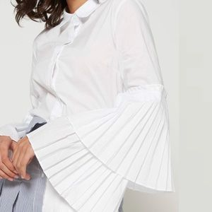 English Factory Pleated Tiered Sleeve Button Down